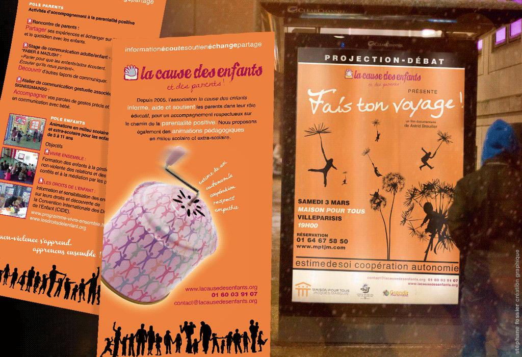 Conception de l'identité visuelle de l'association la cause des enfants et des parents, affiche, flyer