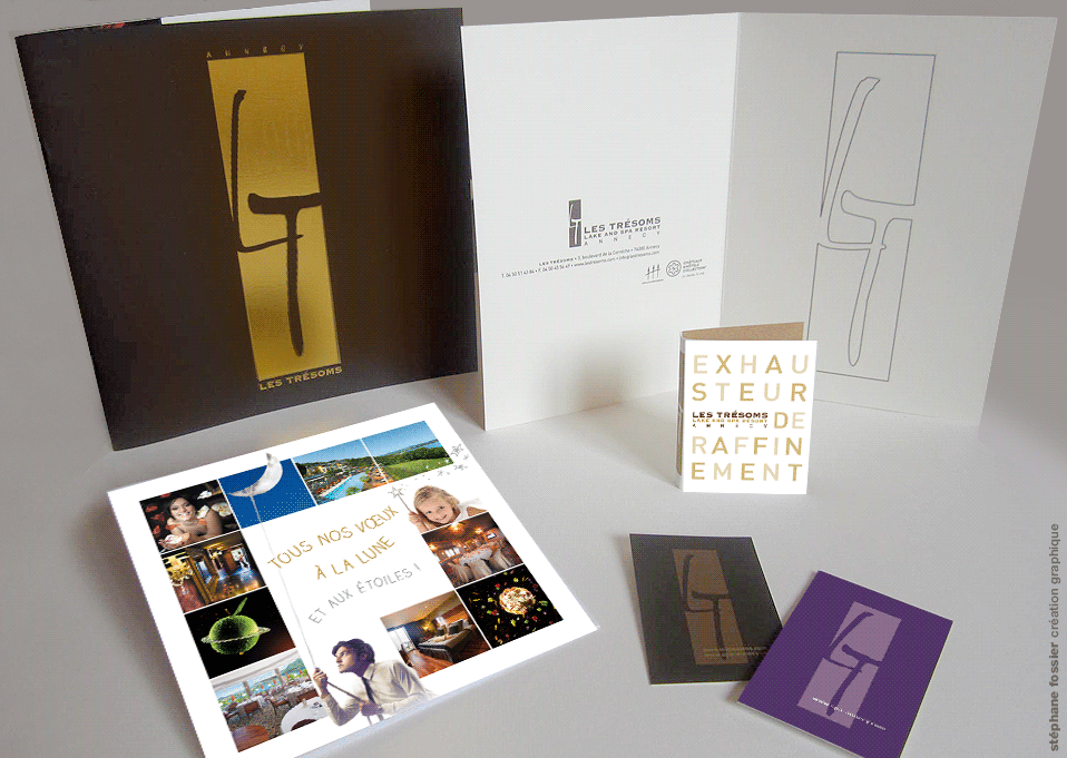 IDENTITE VISUELLE Déclinaison du logotype carte de vœux carte de visite porte menu les trésoms