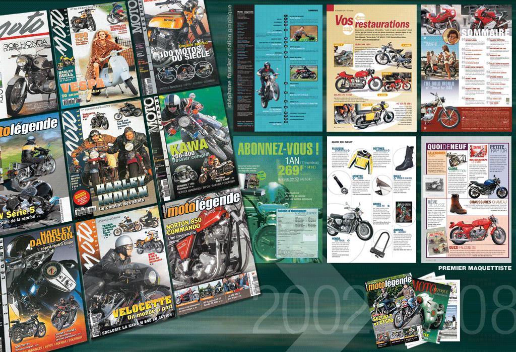 PRESSE maquette et mise en page de moto légende