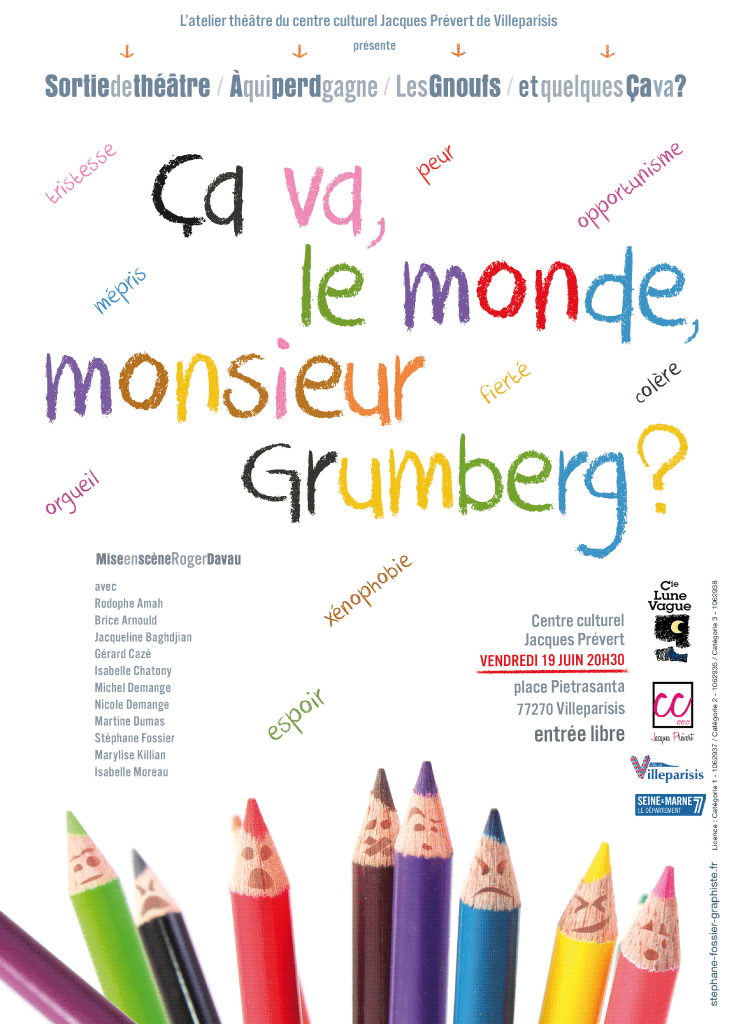 Affiche pour le centre culturel de Villeparisis, compagnie lune vague.
